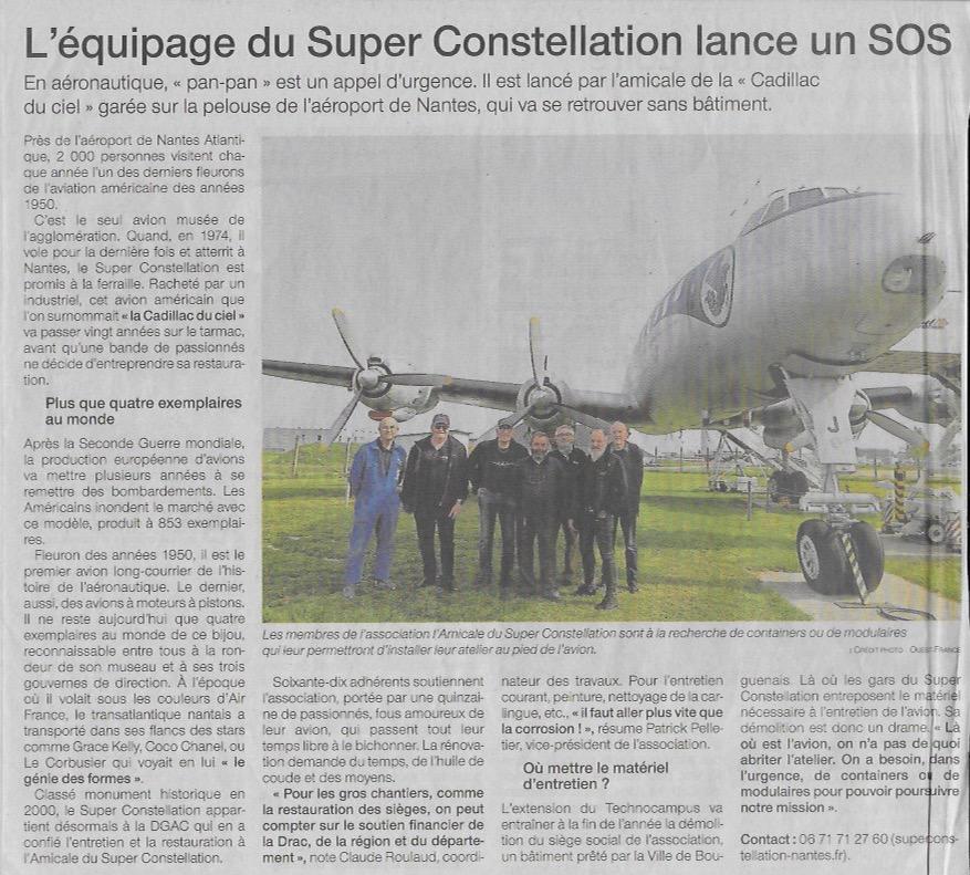 Article Ouest France - L'Equipage du Super Constellation lance un SOS