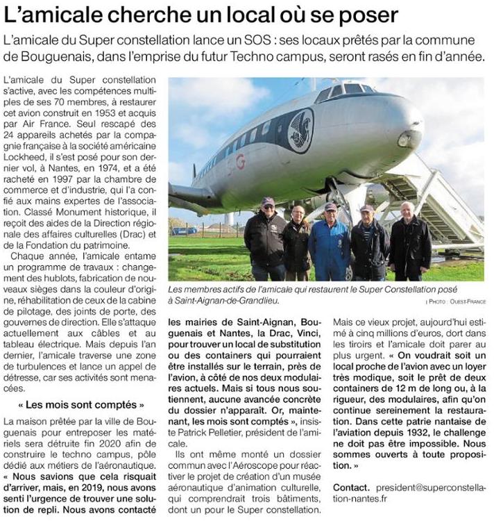 Article Ouest France Amicale recherche un local.